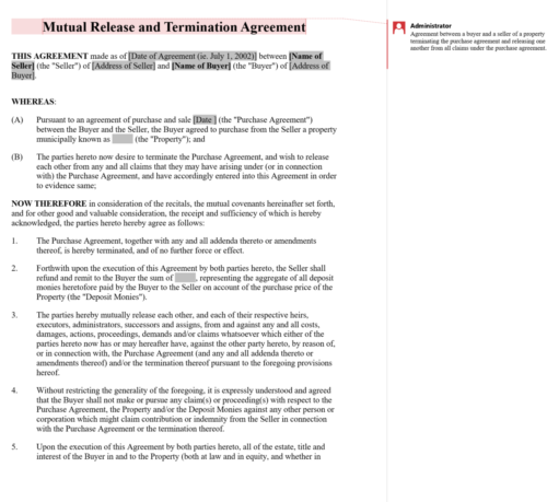 Mutual Release and Termination Agreement 0